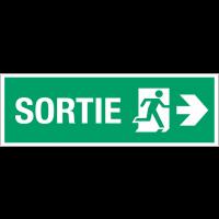 """Panneau d'évacuation suspendu grand format """"Homme qui court, flèche à droite -Sortie"""""""