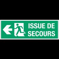 """Panneau d'évacuation suspendu grand format """"Homme qui court, flèche à gauche - Issue de secours"""""""