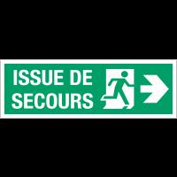 """Panneau d'évacuation suspendu grand format """"Homme qui court, flèche à droite - Issue de secours"""""""