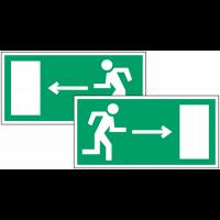 """Panneau d'évacuation suspendu """"Homme qui court, flèche à gauche et à droite"""""""
