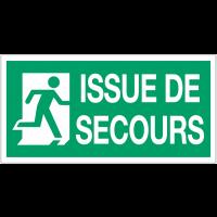 """Panneau d'évacuation suspendu grand format """"Sortie de secours (à droite)"""" avec texte Issue de secours"""