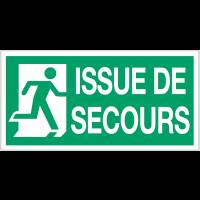 """Panneau d'évacuation suspendu """"Sortie de secours (à gauche et à droite)"""" avec texte Issue de secours"""