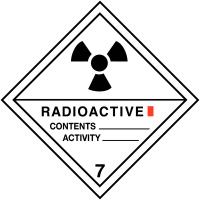 """Etiquettes de transport international """"Matières radioactives, catégorie I"""" en rouleau"""