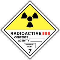 """Etiquettes de transport international """"Matières radioactives, catégorie III"""" en rouleau"""
