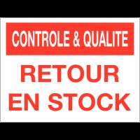 Panneau de contrôle et de qualité - Retour en stock