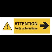 """Autocollant pour surfaces vitrées """"Danger général Flèche à droite - Attention porte automatique"""""""