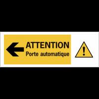 """Autocollant pour surfaces vitrées """"Danger général Flèche à gauche - Attention porte automatique"""""""