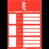 Affichage obligatoire à insert sur l'identité des équipiers incendie avec photo