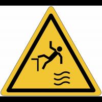 """Panneau de danger """"Attention chute dans l'eau"""""""