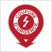 """Etiquette de signalisation pour extincteurs """"Danger électricité - Coupure d'urgence"""""""