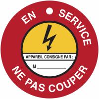"""Disques de condamnation magnétiques """"Danger électricité - En service Ne pas couper"""""""