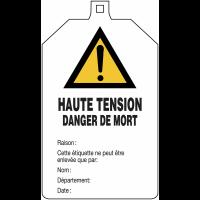 """Plaquette de sécurité """"Danger général - Haute tension danger de mort"""" à compléter"""