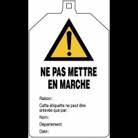 """Plaquette de sécurité """"Danger général - Ne pas mettre en marche"""" à compléter"""