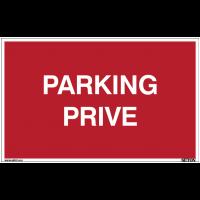 Panneau avec texte sur fond rouge - Parking privé