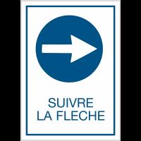 """Panneau d'obligation A4 """"Obligation de tourner à droite avant le panneau - Suivre la flèche"""""""