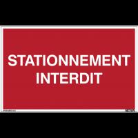 Panneau avec texte sur fond rouge - Stationnement interdit