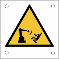 """Plaques de signalisation pour machines """"Attention, mouvement du bras automatique"""""""