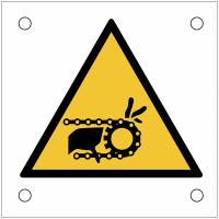 """Plaques de signalisation pour machines """"Risque d'entraînement de la main par la chaîne en mouvement"""""""