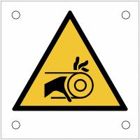 """Plaques de signalisation pour machines """"Risque d'entraînement de la main par la courroie"""""""