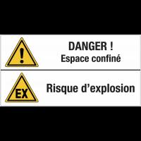 """Panneau standard """"Danger général - Espace confiné - Atmosphère explosive"""""""