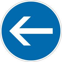 """Panneau autorelevable """"Obligation de tourner à gauche avant le panneau"""""""