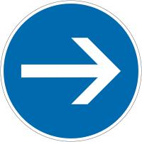 """Panneau autorelevable """"Obligation de tourner à droite avant le panneau"""""""
