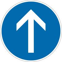 """Panneau autorelevable """"Direction obligatoire à la prochaine intersection: tout droit"""""""
