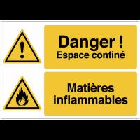 """Panneau haute visibilité """"Danger général - Espace confiné - Matières inflammables"""""""
