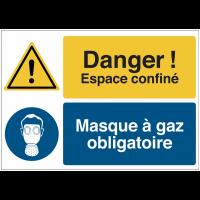 """Panneau haute visibilité """"Danger général - Espace confiné - Protection des voies respiratoires obligatoire"""""""