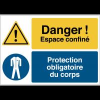 """Panneau haute visibilité """"Danger général - Espace confiné - Vêtements de protection obligatoires"""""""