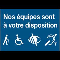Panneau d'accueil adhésif pour sites équipés pour les personnes à handicap