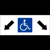 """Panneau de parking """"Parking handicapés, flèches diagonales en bas à gauche et en bas à droite"""""""