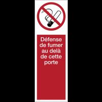 Panneau PVC adhésif - Défense de fumer au-delà de cette porte