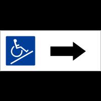 """Panneau de parking """"Rampe d'accès, flèche à droite"""""""