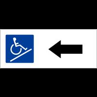 """Panneau de parking """"Rampe d'accès, flèche à gauche"""""""