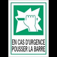 """Panneaux d'évacuation A4 et A3 """"Casser pour obtenir l'accès - En cas d'urgence pousser la barre"""""""