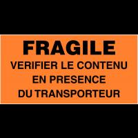 Etiquettes d'expédition fluorescentes - Fragile vérifier le contenu en présence du transporteur