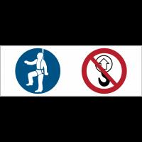 """Signalétique point d'ancrage """"Harnais obligatoire, levage interdit"""""""