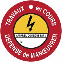 """Disques de condamnation magnétiques """"Danger électricité - Défense de manœuvrer Travaux en cours"""""""