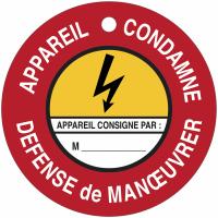 """Disques de condamnation magnétiques """"Danger électricité - Défense de manœuvrer Appareil condamné"""""""
