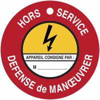 """Disques de condamnation magnétiques """"Danger électricité - Défense de manœuvrer Hors service"""""""