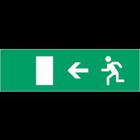 """Etiquette pour bloc autonome normalisé """"Homme qui court, flèche à gauche"""""""