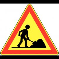 """Panneau de signalisation temporaire pour cône """"Travaux"""""""