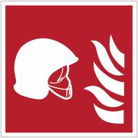 """Panneaux ISO 7010 d'incendie carrés """"Ensemble d'équipements de lutte contre l'incendie"""" - F004B"""