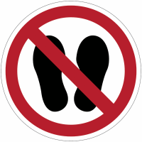 """Panneaux ISO 7010 d'interdiction """"Défense d'entrer avec des chaussures"""" - P024"""