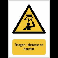 Panneaux ISO 7010 de danger à message vertical - Obstacle en hauteur - W020