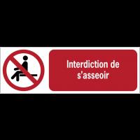 Panneaux ISO 7010 à message horizontal - Interdiction de s'asseoir - P018