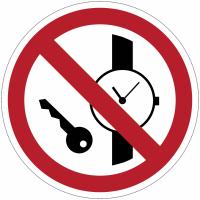 """Panneaux ISO 7010 """"Articles métalliques ou montres interdits"""" - P008"""