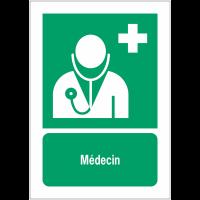 Panneaux ISO 7010 premiers secours à message vertical - Médecin - E009