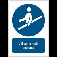 Panneaux ISO 7010 d'obligation à message vertical - Utiliser la main courante - M012
